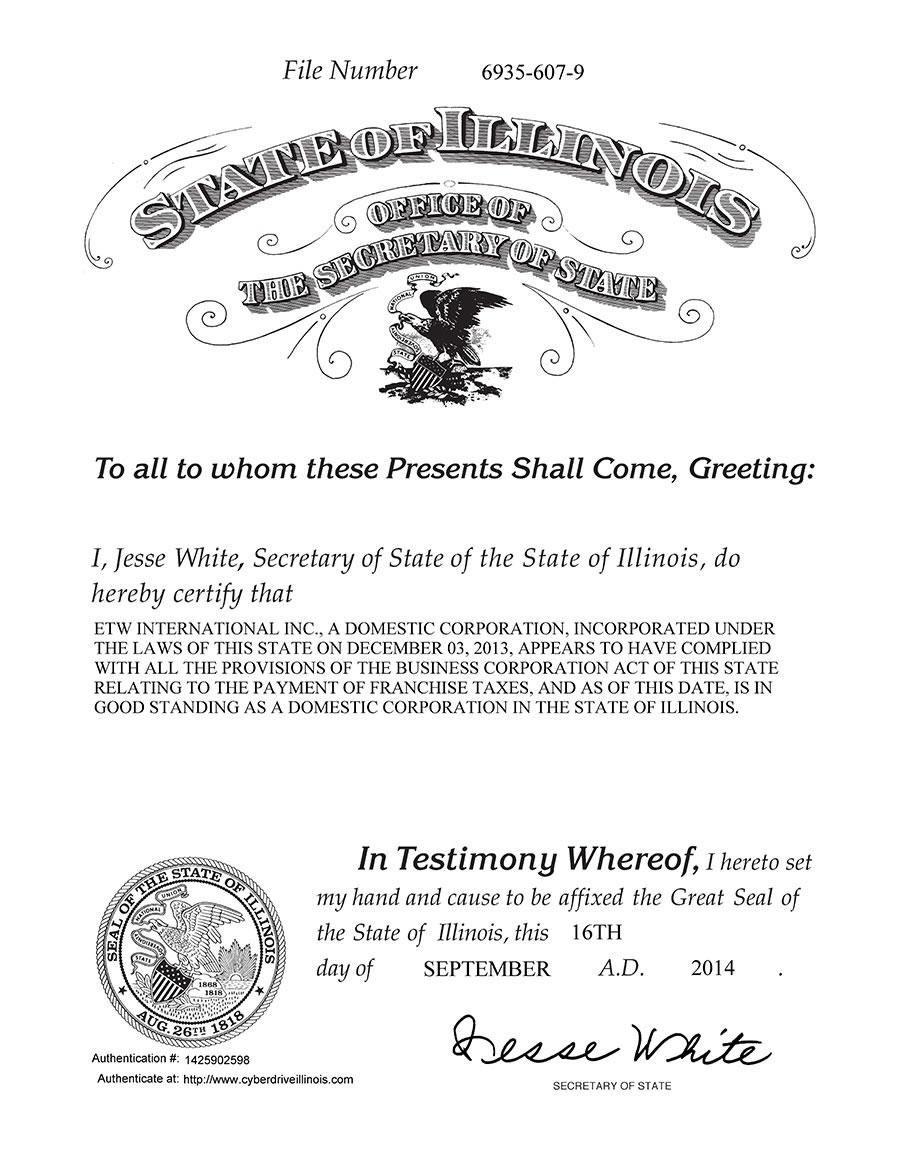 伊利诺伊州州务卿签发的ETW美国执照